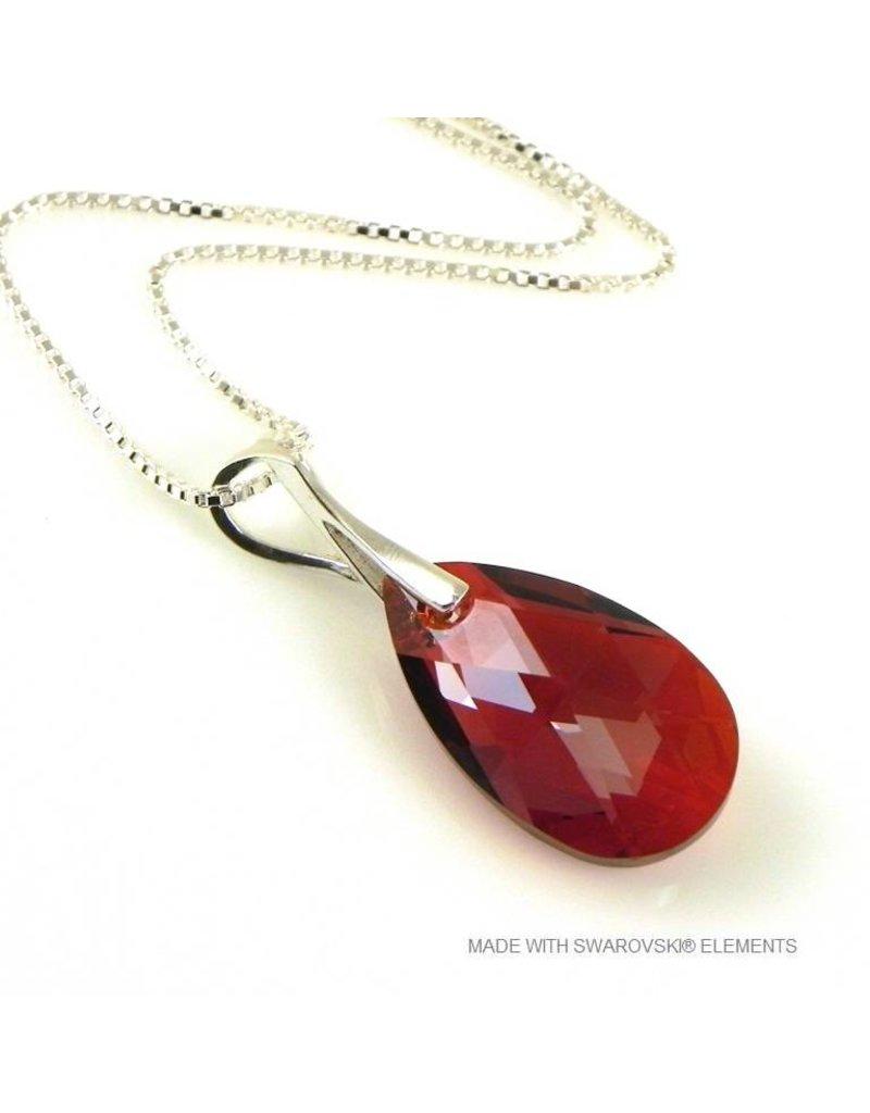 "Bijou Gio Design™ Zilveren Ketting met Swarovski Elements Pear-Shaped ""Red Magma"""