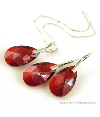 "Bijou Gio Design™ Set 925 met Swarovski Elements Pear-Shaped ""Red Magma"""