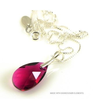 "Bijou Gio Design™ Silver Necklace with Swarovski Elements Pear-Shaped ""Ruby"""