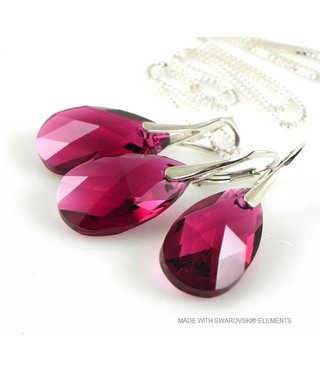 "Bijou Gio Design™ Set Silver Earrings and Necklace with Swarovski Elements Pear-Shaped ""Ruby"""