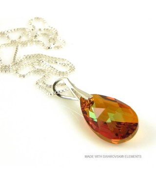"Bijou Gio Design™ Silver Necklace with Swarovski Elements Pear-Shaped ""Cooper Crystallized"""