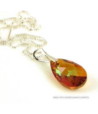 "Bijou Gio Design™ Zilveren Ketting met Swarovski Elements Pear-Shaped ""Cooper Crystallized"""
