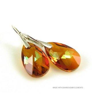 """Bijou Gio Design™ Zilveren Oorringen met Swarovski Elements Pear-Shaped """"Cooper Crystallized"""""""