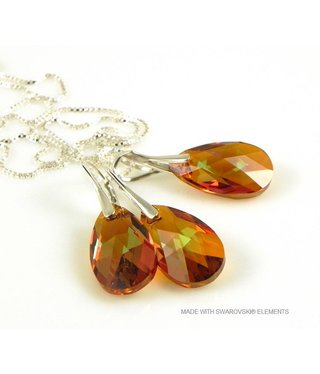 "Bijou Gio Design™ Set Silver Earrings and Necklace with Swarovski Elements Pear-Shaped ""Cooper Crystallized"""