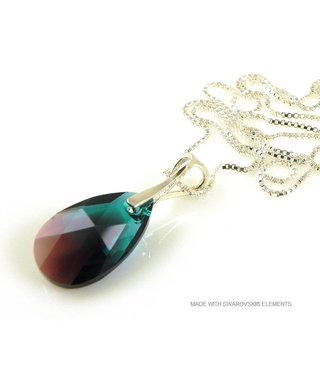 "Bijou Gio Design™ Zilveren Ketting met Swarovski Elements Pear-Shaped ""Zircon Burgund Blue"""