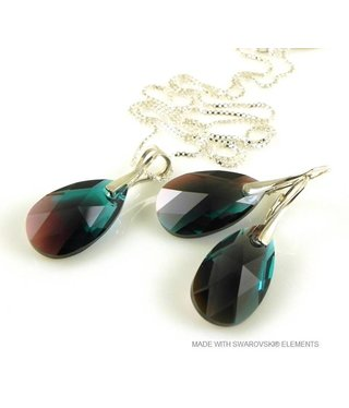 "Bijou Gio Design™ Set Silver Earrings and Necklace with Swarovski Elements Pear-Shaped ""Zircon Burgund Blue"""