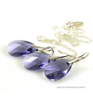 "Bijou Gio Design™ Set Silver Earrings and Necklace with Swarovski Elements Pear-Shaped ""Tanzanite"""
