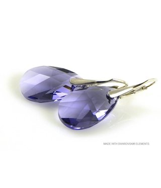 "Bijou Gio Design™ Silver Earrings with Swarovski Elements Pear-Shaped ""Tanzanite"""