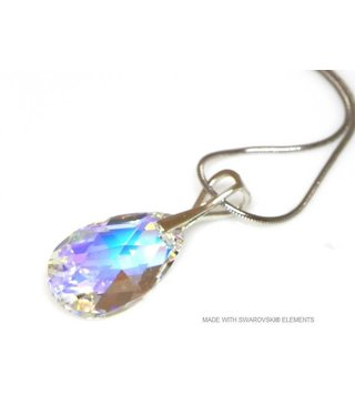 "Bijou Gio Design™ Zilveren Ketting met Swarovski Elements Pear-Shaped ""Crystal AB"""