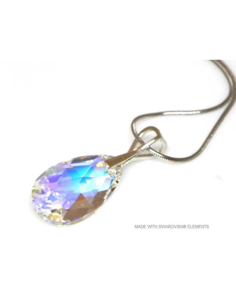 "Bijou Gio Design™ Zilveren Ketting met Swarovski Elements Pear-Shaped ""Crystal AB"""
