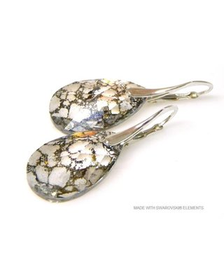 "Bijou Gio Design™ Zilveren Oorringen met Swarovski Elements Pear-Shaped ""Crystal Gold Patina"""