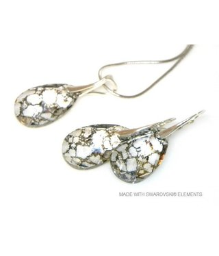 "Bijou Gio Design™ Set Silver Earrings and Necklace with Swarovski Elements Pear-Shaped ""Crystal Gold Patina"""
