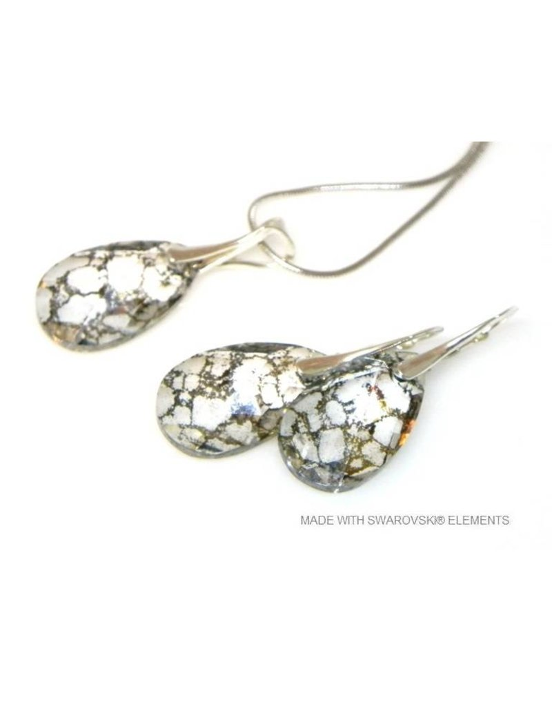 2f48bc07d Bijou Gio Design™ Set Silver Earrings and Necklace with Swarovski Elements  Pear-Shaped