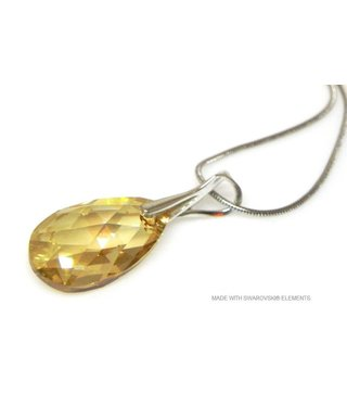 "Bijou Gio Design™ Silver Necklace with Swarovski Elements Pear-Shaped ""Golden Shadow"""