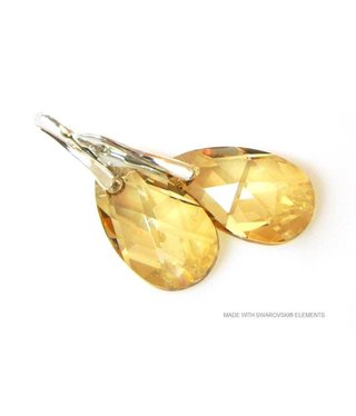 "Bijou Gio Design™ Zilveren Oorringen met Swarovski Elements Pear-Shaped ""Golden Shadow"""