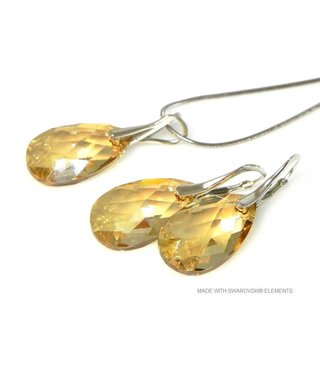 "Bijou Gio Design™ Set Silver Earrings and Necklace with Swarovski Elements Pear-Shaped ""Golden Shadow"""