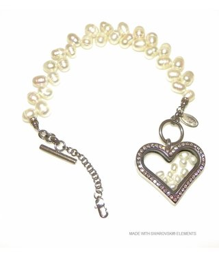 Bijou Gio Design™ Pearl Bracelet with Stainless Steel Memory Locket, mini Photo* charm and mini Pearls