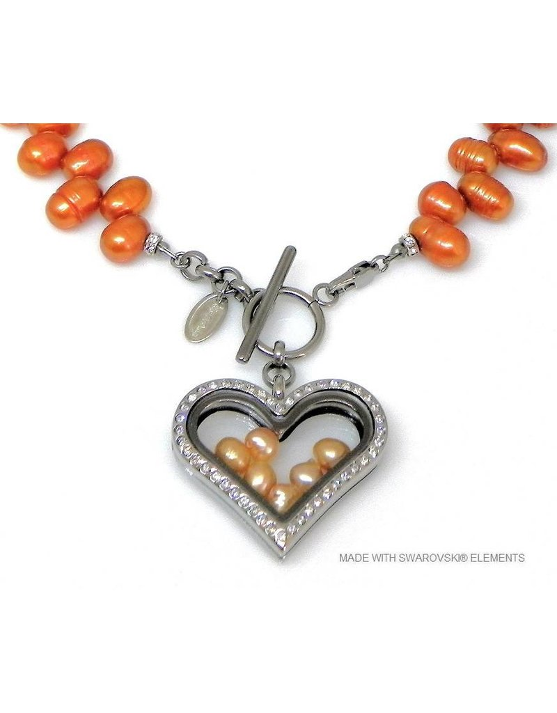 Bijou Gio Design™ Pearl Collier with Stainless Steel Memory Locket and mini Pearls