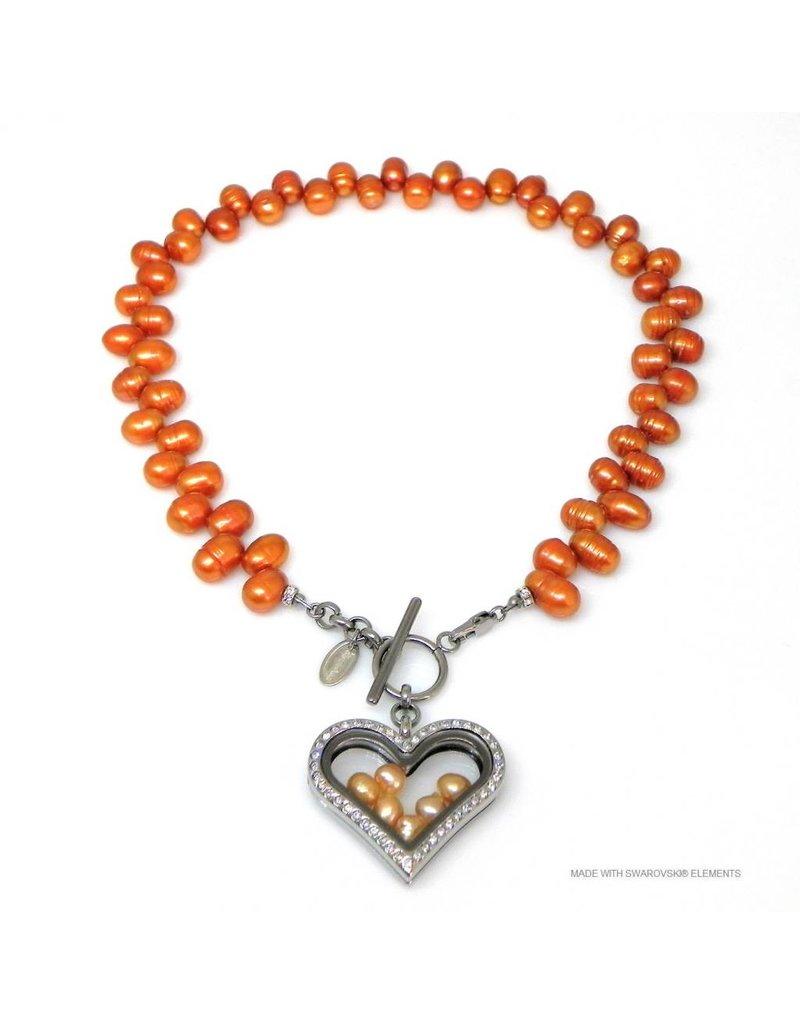 Bijou Gio Design™ Parelcollier met RVS glazen hart medaillon en mini zoetwaterparels