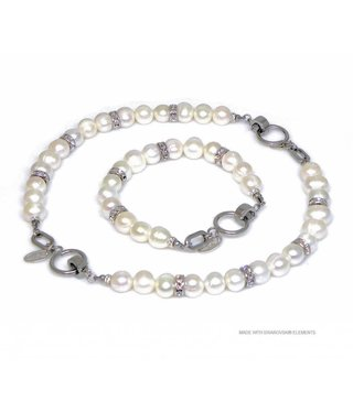 Bijou Gio Design™ Set Stainless Steel Pearl Bracelet and Pearl Necklace