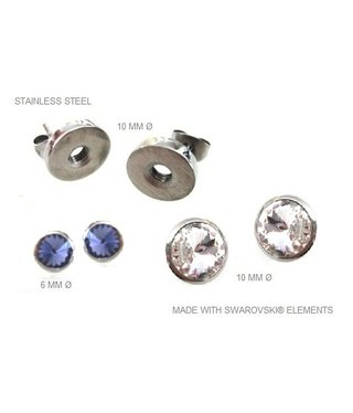 Earstuds Stainless Steel with removable Swarovski stones