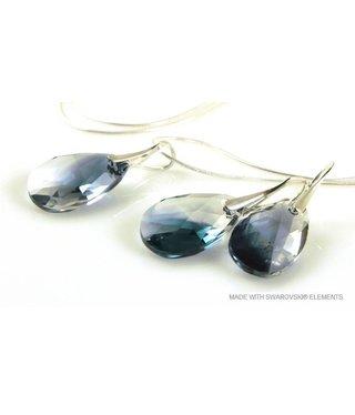 "Bijou Gio Design™ Set 925 met Swarovski Elements Pear-Shaped ""Crystal-Montana Blend"""