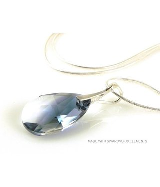 "Bijou Gio Design™ Silver Necklace with Swarovski Elements Pear-Shaped ""Crystal-Montana Blend"""