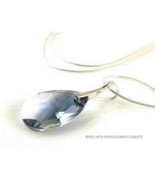 "Bijou Gio Design™ Zilveren Ketting met Swarovski Elements Pear-Shaped ""Crystal-Montana Blend"""