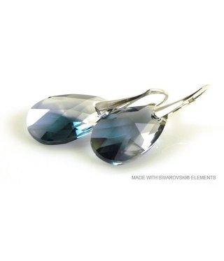"Bijou Gio Design™ Zilveren Oorringen met Swarovski Elements Pear-Shaped ""Crystal-Montana Blend"""