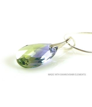 "Bijou Gio Design™ Silver Necklace with Swarovski Elements Pear-Shaped ""Pro. lav - chrys. blend"""