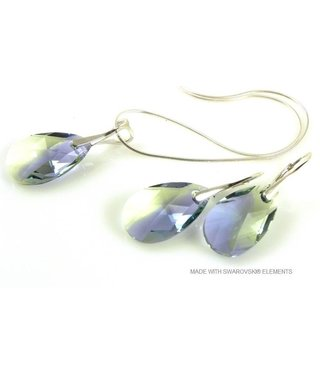 """Bijou Gio Design™ Set Silver Earrings and Necklace with Swarovski Elements Pear-Shaped """"Pro. lav - chrys. blend"""""""