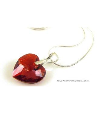 "Bijou Gio Design™ Zilveren Ketting met Swarovski Elements Hart ""Crystal Red Magma"""