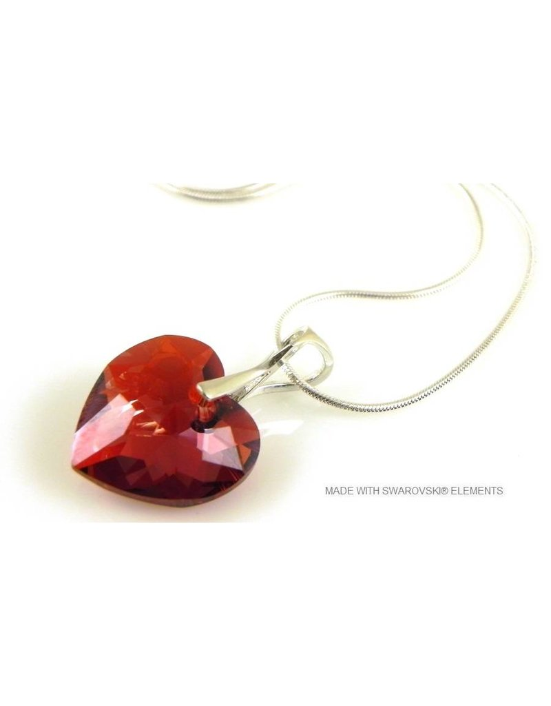 "Bijou Gio Design™ Silver Necklace with Swarovski Elements Heart ""Crystal Red Magma"""