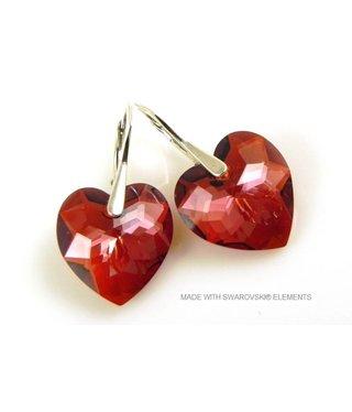 """Bijou Gio Design™ Zilveren Oorringen met Swarovski Elements Hart """"Crystal Red Magma"""""""