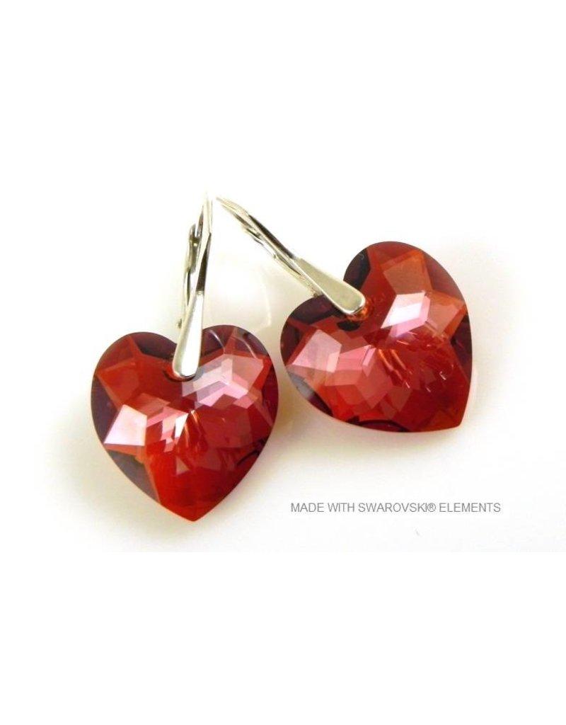 """Bijou Gio Design™ Zilveren Oorbellen met Swarovski Elements Hart """"Crystal Red Magma"""""""