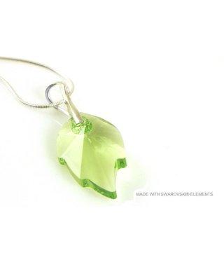 "Bijou Gio Design™ Zilveren Ketting met Swarovski Elements Leaf ""Peridot"""