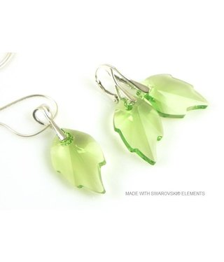 """Bijou Gio Design™ Set Silver Earrings and Necklace with Swarovski Elements Leaf """"Peridot"""""""