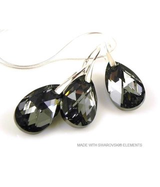 "Bijou Gio Design™ Set Silver Earrings and Necklace with Swarovski Elements Pear-Shaped ""Crystal Silver Night"""