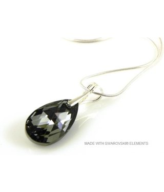"Bijou Gio Design™ Zilveren Ketting met Swarovski Elements Pear-Shaped ""Crystal Silver Night"""