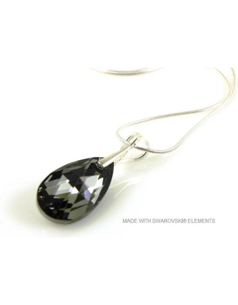 "Bijou Gio Design™ Zilveren Ketting met Swarovski Elements Pear-Shaped ""Crystal Silver Night"""