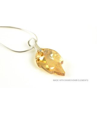 "Bijou Gio Design™ Silver Necklace with Swarovski Elements Leaf ""Crystal Golden Shadow"""