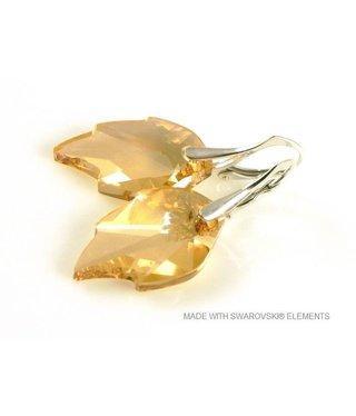 "Bijou Gio Design™ Silver Earrings with Swarovski Elements Leaf ""Crystal Golden Shadow"""