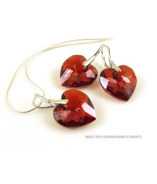 "Bijou Gio Design™ Set Silver Earrings and Necklace with Swarovski Elements Heart ""Crystal Red Magma"""