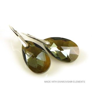 "Bijou Gio Design™ Zilveren Oorringen met Swarovski Elements Pear-Shaped ""Bronze Shade"""