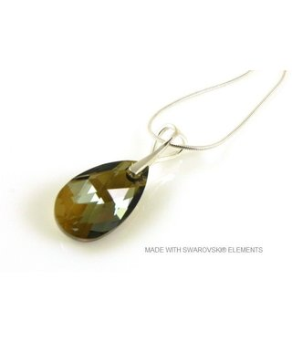 "Bijou Gio Design™ Silver Necklace with Swarovski Elements Pear-Shaped ""Bronze Shade"""