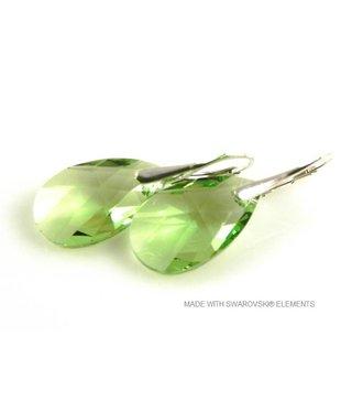 "Bijou Gio Design™ Silver Earrings with Swarovski Elements Pear-shaped ""Peridot"""