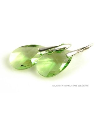 "Bijou Gio Design™ Zilveren Oorringen met Swarovski Elements Pear-shaped ""Peridot"""