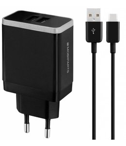 Mobiparts Mobiparts Wall Charger Dual USB 2.4A + USB-C Cable Black