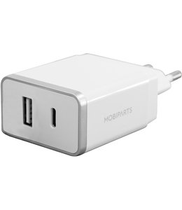 Mobiparts Mobiparts Wall Charger Dual USB-A en USB-C 2.4A White