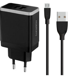 Mobiparts Mobiparts Wall Charger Dual USB 2.4A + Micro USB Cable Black